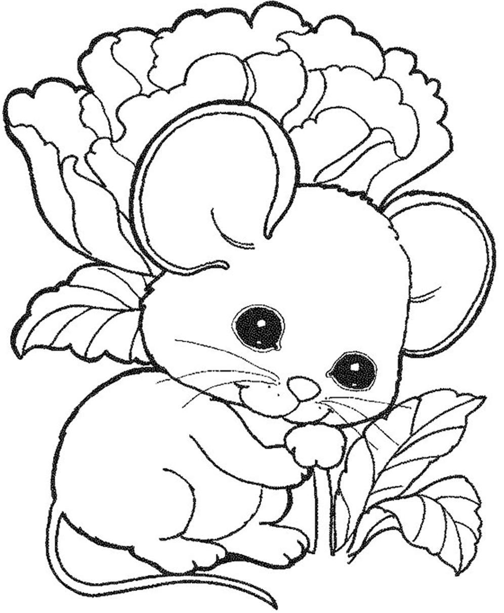 Mewarnai gambar tikus lucu sederhana 5