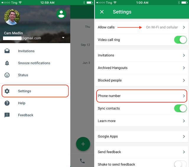 Hangouts app settings iOS