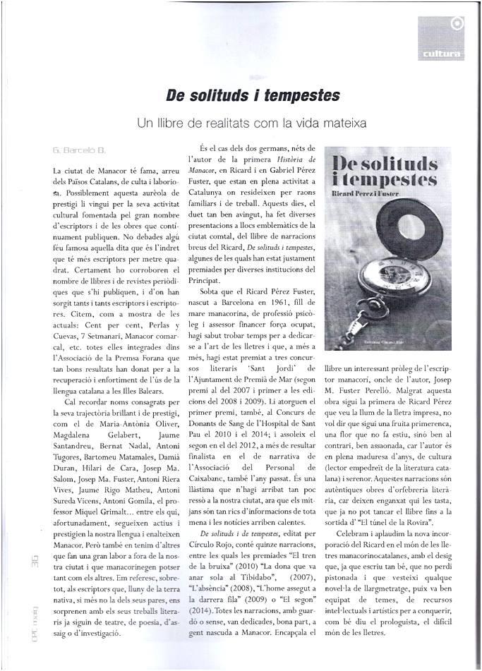 """RECENSIÓ """"DE SOLITUDS I TEMPESTES"""""""