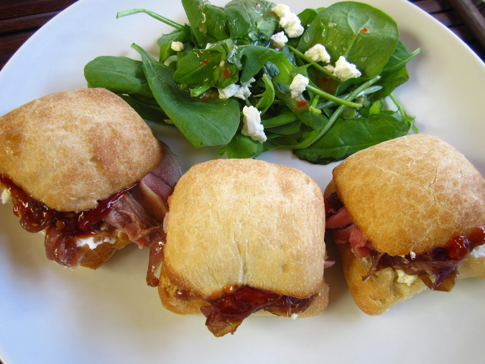 ... Lamb Sandwiches with Goat Cheese, Caramelized Onions and Tomato Jam