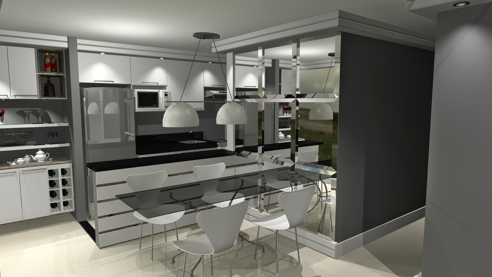 #736F58 Cozinha integrada com sala ao lado da cozinha fizemos um barzinho 1600x900 px Projetos De Cozinhas De Bares #503 imagens