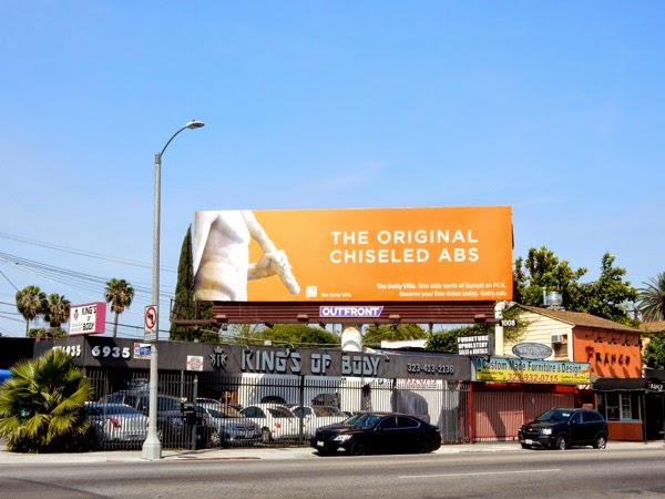 chiseled abs Getty Villa billboard