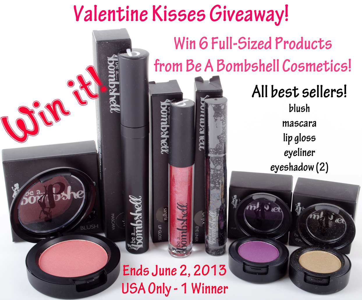 Be A Bombshell Cosmetics Giveaway!