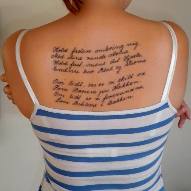 Digt tatovering på ryggen - Hold fastere omkring mig  - Med dine runde Arme
