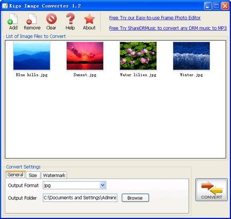 Bina watermark gambar dengan Kigo Image Converter
