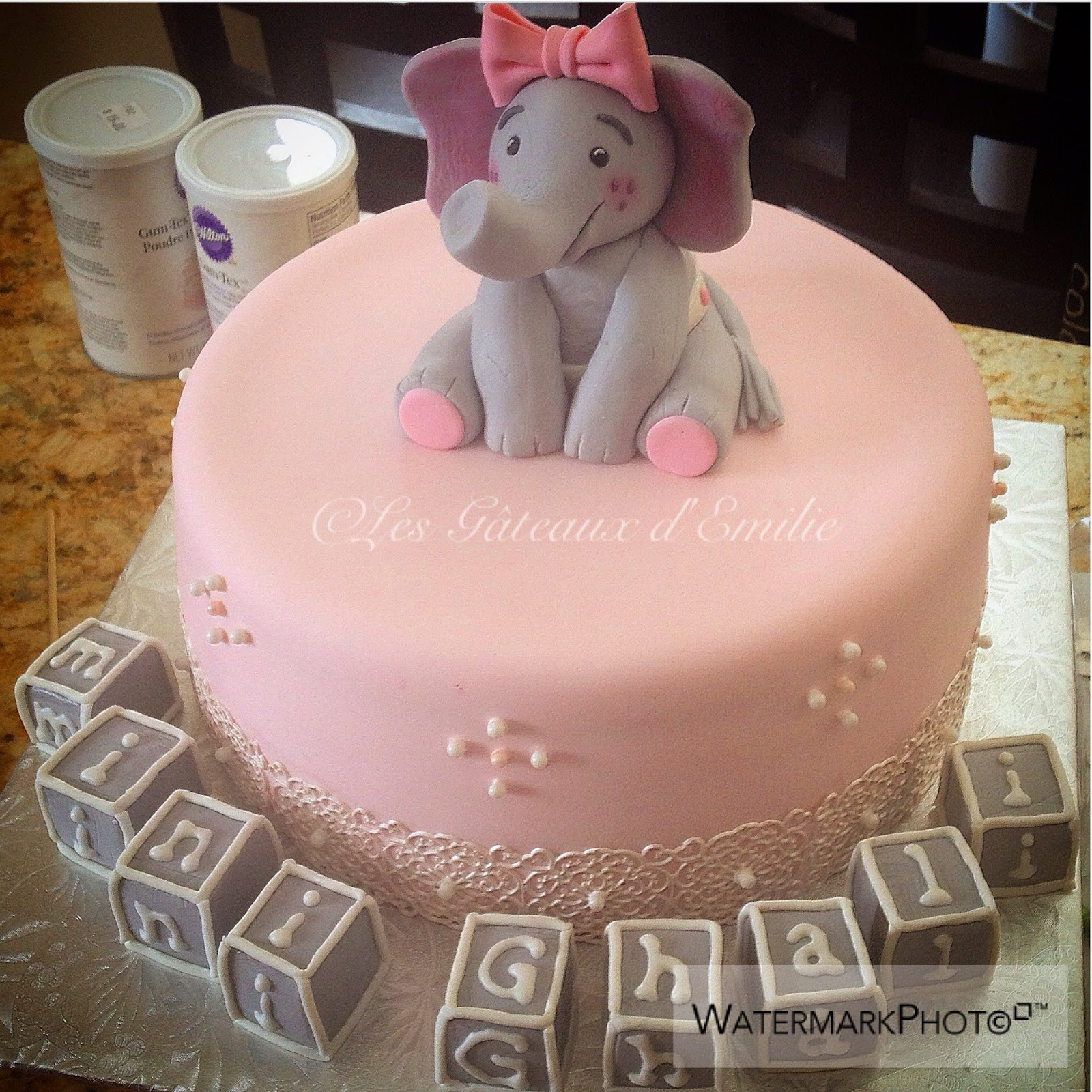 baby elephant themed baby shower cake
