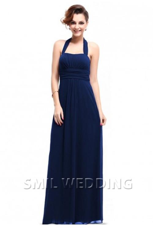 blauwe jurk lange mouw