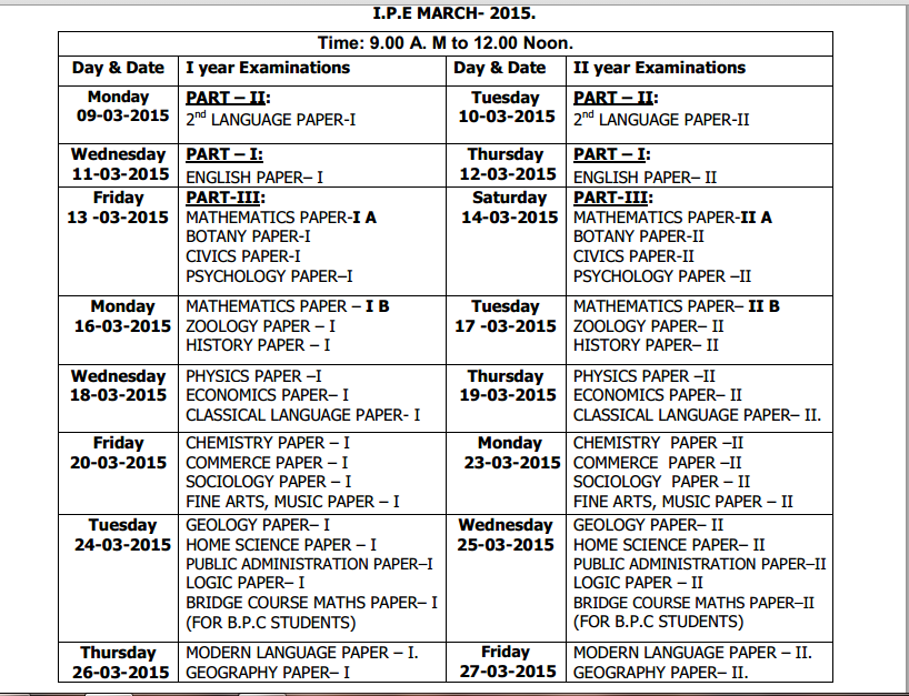 Exam Time Tension Exam Time Table 2015 List