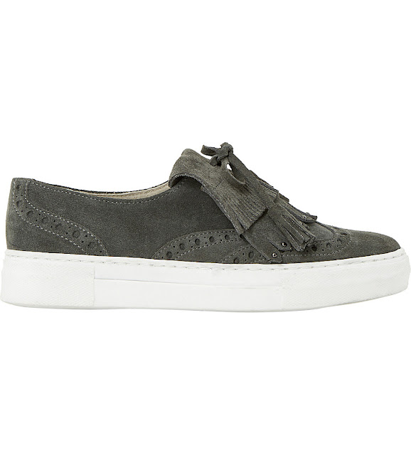 dune suede trainers, suede fringed trainers, tassel trainers, grey suede pumps,