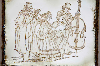 Sepia Colouring on Christmas Carol Christmas Card