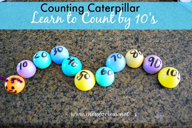Counting Caterpillar - Use leftover eggs to practice counting by 10.