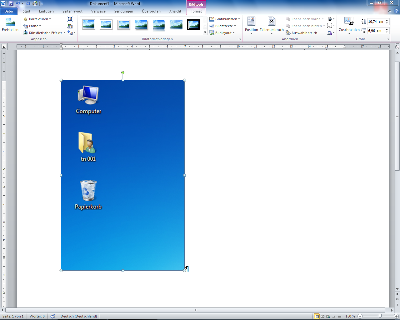 Screenshot in Word eingefügt