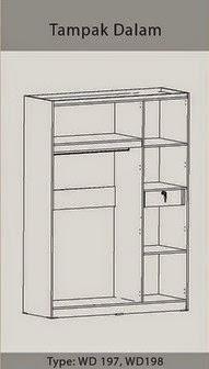 Tampak Dalam Lemari Pakaian 3 Pintu WD 197 Benefit Furniture