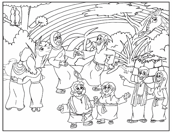 Rainbow Coloring Pages Noah And The Bible