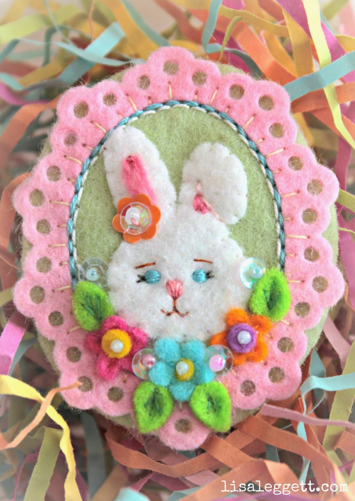 Felt Bunny Pin by Lisa Leggett