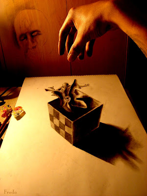 3 dimensional pencil drawing of a box with souvenirs being dropped into it photgraphed with a real hand doing the dropping