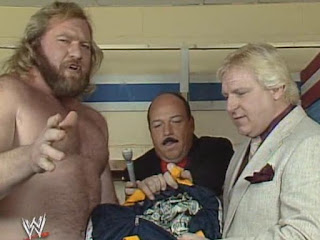 WWF (WWE) WRESTLEMANIA 1: Mean Gene Okerlund tries to steal Big John Studd's money