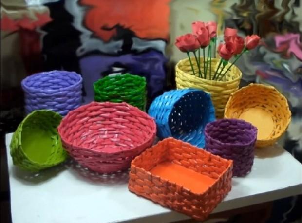 Suely Artesanato De Madeira ~ Como fazer cesta de papel Espaço Renda