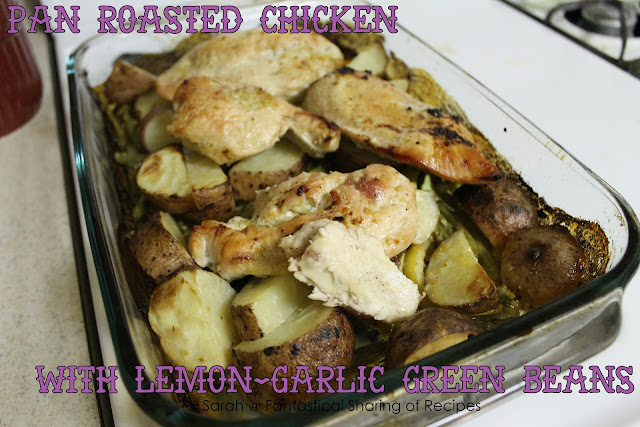 Pan-Roasted Chicken with Lemon-Garlic Green Beans, a one-dish oven-cooked meal full of flavor! #lemon #chicken #greenbeans