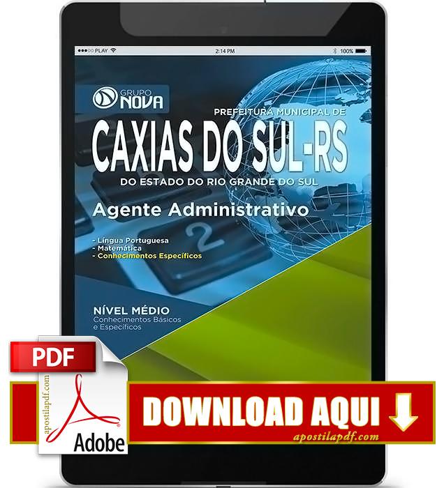 Apostila Prefeitura de Caxias do Sul 2015 PDF Download Agente Administrativo