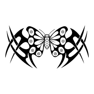 Butterfly VII Tatto Black n White Tribal