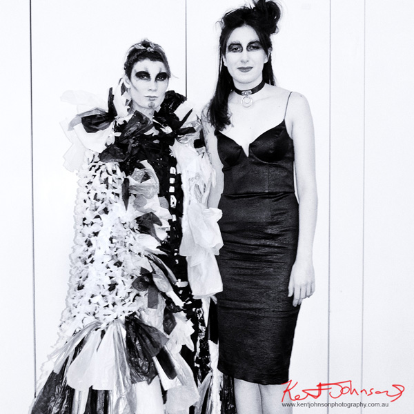 Portrait of fashion designer Sara Nicolette with model backstage. Raw to Recycled by Dehautt - Photographed by Kent Johnson.