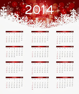Another red and white colored 2014 style HD Calendar for desktop