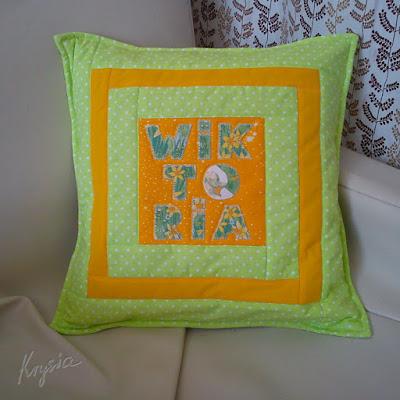 poduszka patchwork pikowana WIKTORIA żółto-zielona na zamówienie