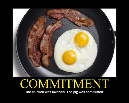 Funny Joke Picture Commitment Chicken Pig Bacon Eggs Sandwich
