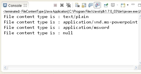 Java 7 new feature : Determining the file content type