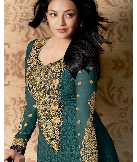 Kajal Agarwal Stills In Green Designer Dress