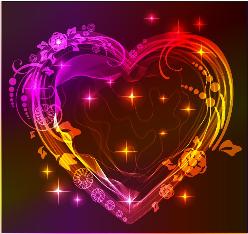 ハート型に飾付けたバレンタインデーのライト Heart valentine gorgeous light イラスト素材
