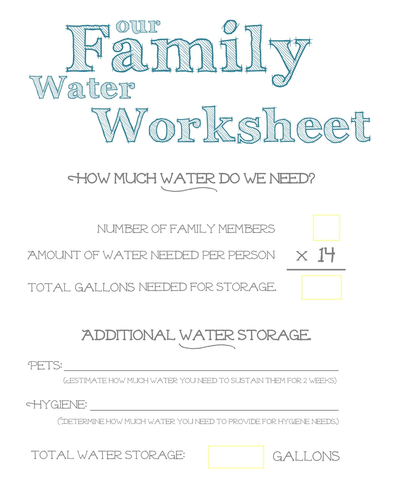 Water Per Day Person So To Figure Out How Much You Need Here Is A Handy Dandy Family Worksheet Print It And Stick Somewhere Remind
