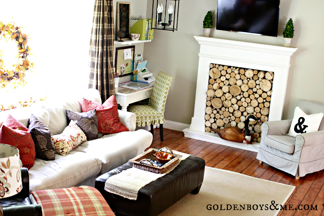 Faux fireplace with birch logs part of Fall Home Tour via www.goldenboysandme.com