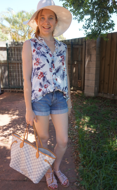 casual summer outfit denim shorts button down tank floral print shirt LV NF