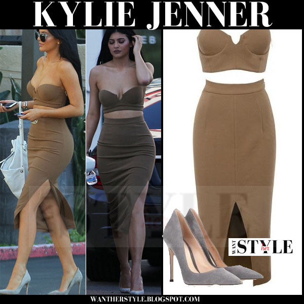 Kylie Jenner in brown crop top and matching pencil skirt from house of cb what she wore streetstyle