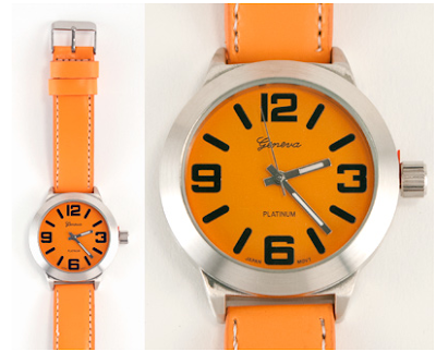 orange wristwatch