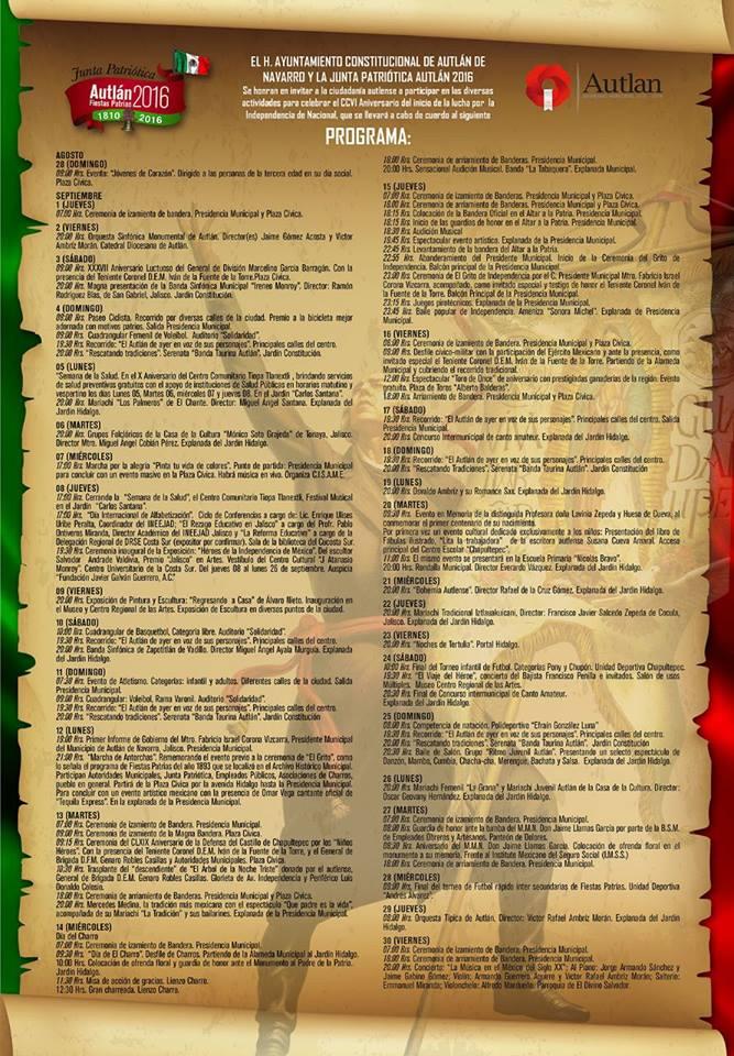 programa de las fiestas patrias 2016