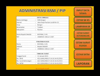 Aplikasi Administrasi BSM/PIP lengkap Terbaru