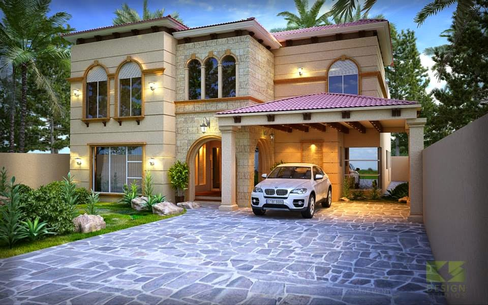Mediterranean house plan 3d front elevation 3d front for House design mediterranean style