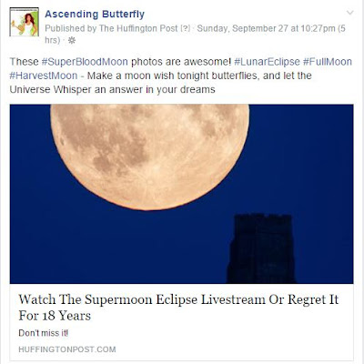 Ascending Butterfly Facebook Fan Page Post About The Super Blood Moon, #SuperBloodMoon