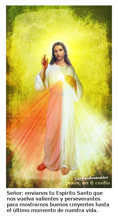 divina misericordia con oracion abajo para pedir el espiritu santo