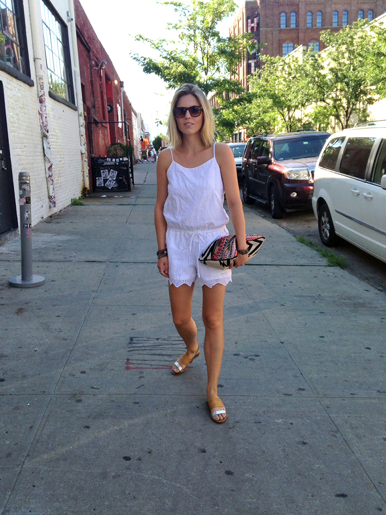 Summer style, white eyelet romper, silver & tan Loeffler Randall sandals, navajo oversized clutch, street style, style blogger