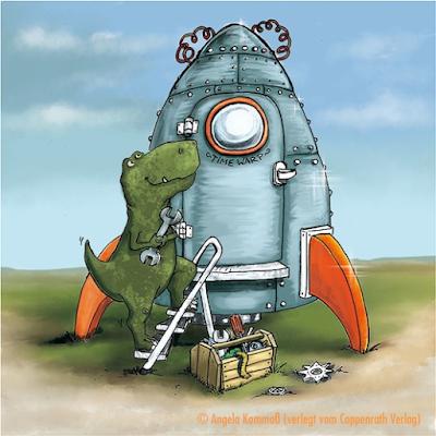 Cartoon, Dinosaurier, Comic, Geschenkbücher, Coppenrath Verlag, Kommoß, Geburtstag, Irgendwer ist immer älter, T-Rex