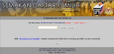 Semak Tempat Mengundi Secara Online Dan SMS, Pilihan Raya Umum PRU 13 2013.