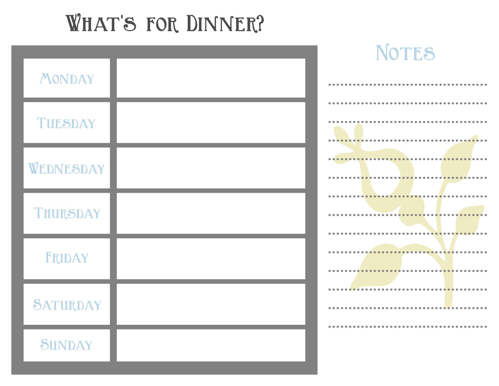 ... For Dinner? Menu Planning challenge. Menu planning templates provided
