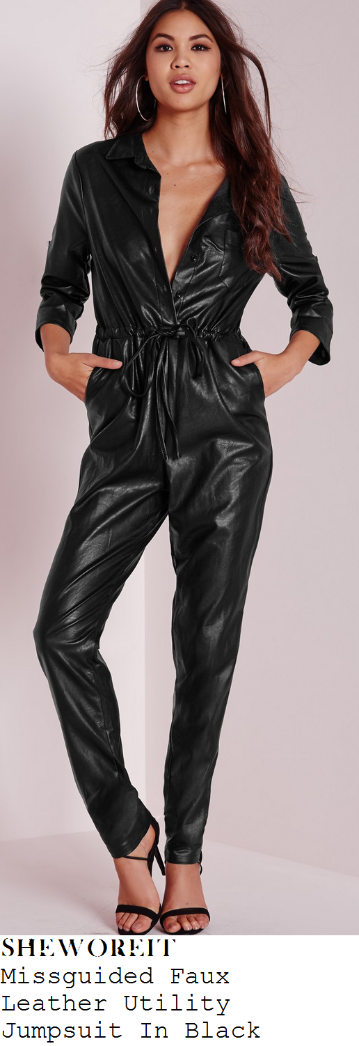 chloe-sims-black-faux-leather-jumpsuit-birthday