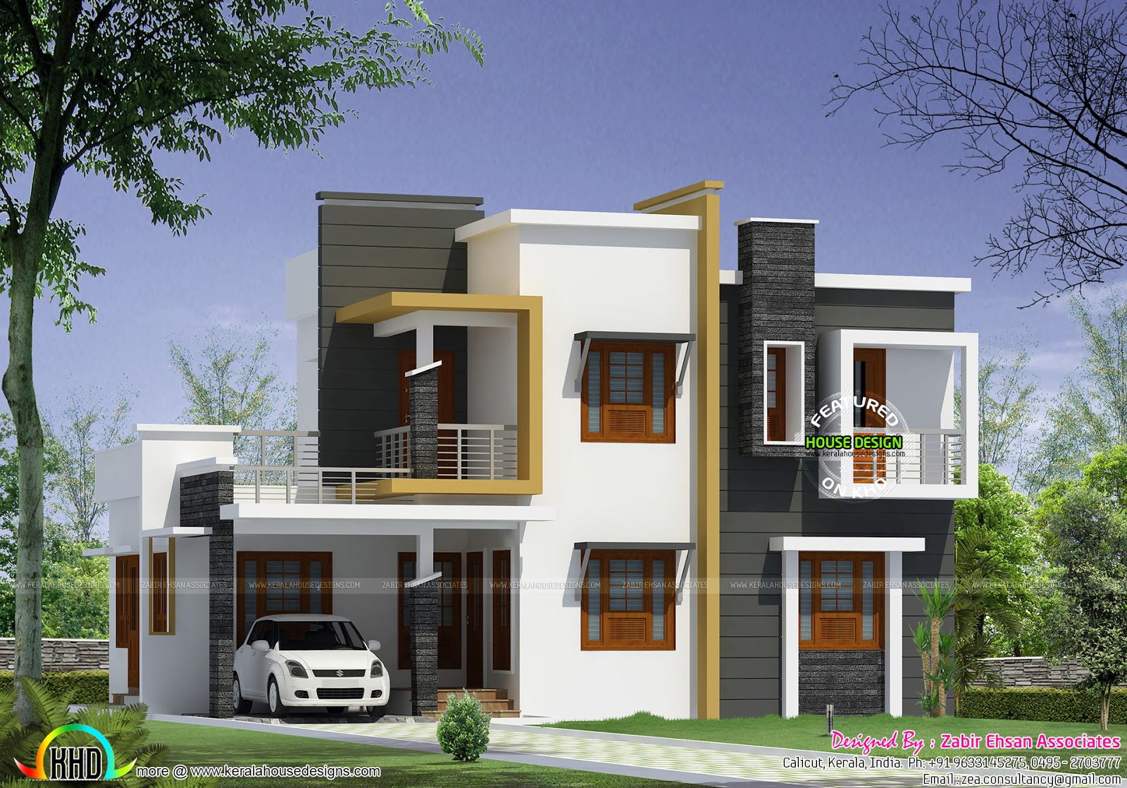 Box type modern house plan kerala home design and floor for Modern home design floor plans