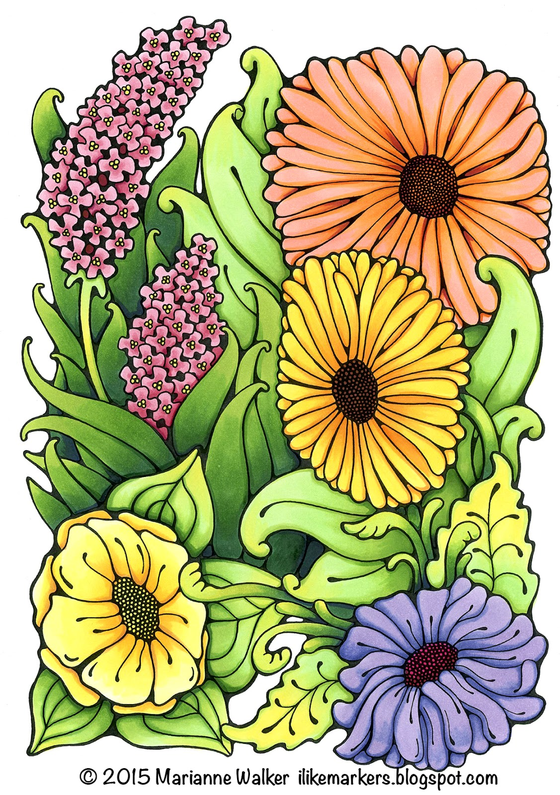 I Like Markers: Coloring leaves with extra depth