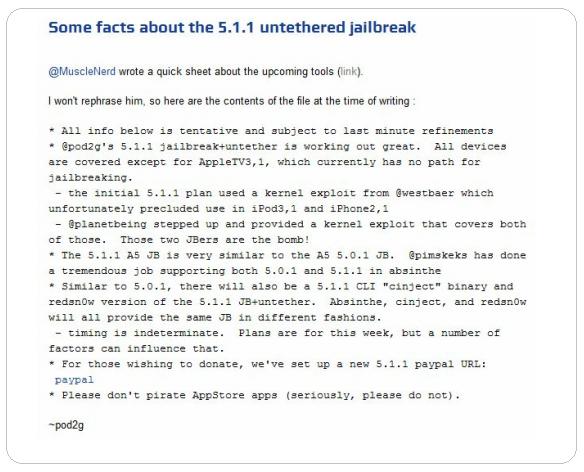 untethered jailbreak iOS 5.1.1